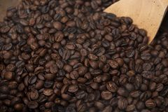 Geroosterde koffiebonen met houten lepel royalty-vrije stock foto's