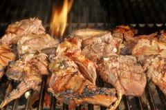 Geroosterde lamskoteletten bij BBQ de Grill Royalty-vrije Stock Foto's