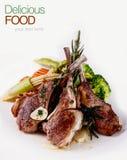 Geroosterde lamskoteletten met groenten Stock Foto