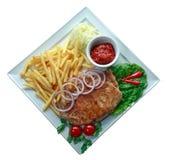 Geroosterde lapje vlees en Frieten Royalty-vrije Stock Foto