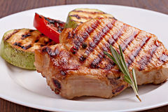 Geroosterde lapje vlees en groenten Royalty-vrije Stock Foto's