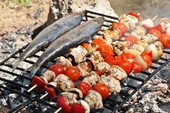 Geroosterde Makreel en vleespennen Stock Fotografie
