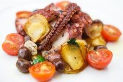 Geroosterde octopus met groenten royalty-vrije stock foto's