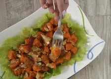 Geroosterde pompoen en salade Stock Afbeelding