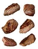 Geroosterde rundvleeslapjes vlees in diverse soorten, inzameling op witte backgr royalty-vrije stock foto