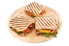 Geroosterde Sandwiches met Groenten en Kip Stock Afbeelding