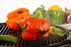 Geroosterde Spaanse pepers Stock Foto's