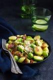 Geroosterde spruitjes met bacon Royalty-vrije Stock Fotografie