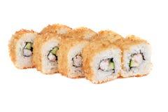 Geroosterde sushibroodjes met komkommer en garnalen Stock Afbeeldingen