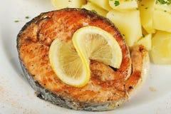 Geroosterde tonijn met gekookte aardappels Stock Foto's