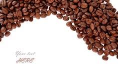 Geroosterde van Koffiebonen geïsoleerde textuur als achtergrond Stock Foto's