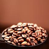 Geroosterde van koffiebonen textuur als achtergrond Bruine koffiebonen voor Stock Afbeelding