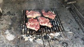 Geroosterde varkenskoteletten bij de grill, bbq, barbecue stock footage