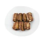 Geroosterde varkensvleesribben horizontale mening van hierboven Royalty-vrije Stock Fotografie