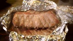 Geroosterde varkensvleesribben Sappig vlees, stock foto's
