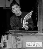 Geroosterde Vissen bij een straatbox in Kyoto, Japan stock foto
