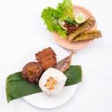 Geroosterde vissen met citroen, slak, pijlinktvis, rundvlees, gebraden sjalot, en witte rijst Stock Foto's