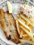 Geroosterde vissen met gebraden gerechten en koolsla Royalty-vrije Stock Afbeeldingen