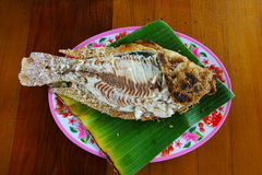 Geroosterde vissen met zout Stock Fotografie