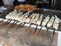 Geroosterde vissen met zout Royalty-vrije Stock Afbeeldingen