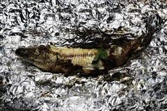 Geroosterde vissen op floyd Stock Foto