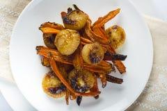 Geroosterde wortelen en uien Royalty-vrije Stock Afbeelding