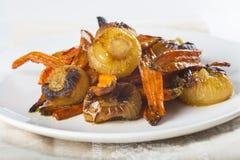 Geroosterde wortelen en uien Royalty-vrije Stock Afbeeldingen