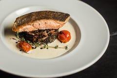 Geroosterde zalm met rozemarijn reeks vectorschetsen Sluit omhoog Restaurant stock fotografie