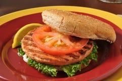 Geroosterde zalmhamburger royalty-vrije stock afbeeldingen