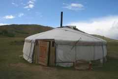 Gerr in Mongolia. Picture of a Gerr, traditional homes of nomads in Mongolia Royalty Free Stock Photo