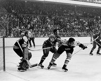 Gerry Cheevers en Fred Stanfield, Boston Bruins Stock Foto