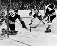 Gerry Cheevers, Jacque Lemaire and Bobby Orr. Royalty Free Stock Images