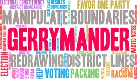 Gerrymander Word Cloud. On a white background vector illustration