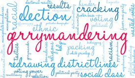 Gerrymandering Word Cloud. On a white background vector illustration