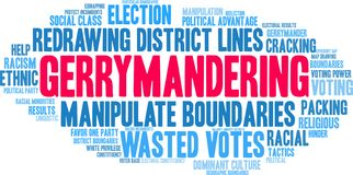 Gerrymandering Word Cloud. On a white background stock illustration
