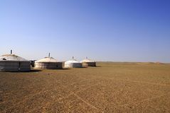 Gers in der Gobi-Wüste, Mongolei Stockbild