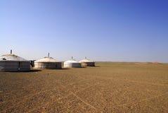 Gers in the Gobi Desert, Mongolia. A nomadic herder's family gers in the Gobi Desert, Mongolia stock image