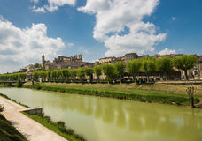 Gers river and medieval city with the cathedra Royalty Free Stock Photo