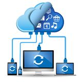 Geräte angeschlossen an die Wolkendatenverarbeitung Stockbild