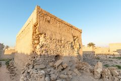 Geruïneerd huis in Al Jazirah Al Hamra, Ras Al Khaimah royalty-vrije stock foto