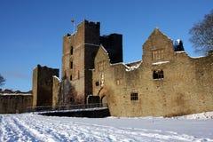 Geruïneerd kasteel in sneeuw Royalty-vrije Stock Afbeeldingen