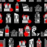 Geruïneerd stads naadloos patroon Ruïnes van gebouwen Brand in huizen vector illustratie