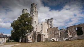 Geruïneerde abdij van Jumieges, Normandië Frankrijk stock video