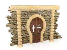 Geruïneerde bakstenen muur en bruine houten deur Stock Foto's
