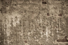 Geruïneerde bakstenen muur met concrete achtergrond bruine bruine sepia ton Royalty-vrije Stock Foto