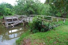 Geruïneerde houten brug Royalty-vrije Stock Foto's