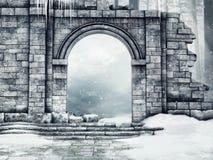 Geruïneerde kasteelpoort met sneeuw vector illustratie