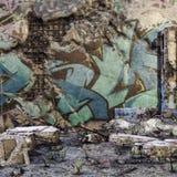 Geruïneerde muur met graffiti royalty-vrije illustratie