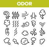 Geruch, Rauch, Geruch-Vektor-linearer Ikonen-Satz lizenzfreie abbildung