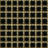 Geruit gouden en zwart grunge 3d vector naadloos patroon Achtergrond van de borduurwerk de overladen controle Herhaal eindeloze g stock illustratie